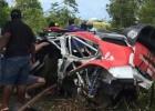Rallija ekipāža piedzīvo šaušalīgu avāriju pie apmēram 185 km/h liela ātruma