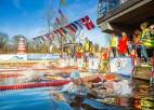 Jelgavā pasaules kausa posmā ziemas peldēšanā piedalījušies ap 250 dalībnieku