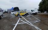 Foto: Vējš izposta Korsikas WRC rallija servisa parku; vietām trasē uzkrīt sniegs