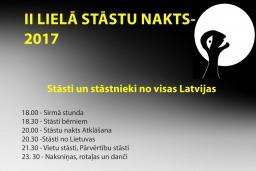 Sestdien, 18.martā plkst. 18.00 vakarā Katlakalna Tautas namā sāksies II LIELĀ STĀSTU NAKTS- 2017