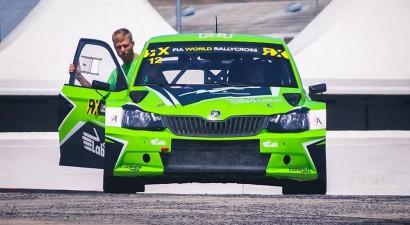 Jānis Baumanis aizvada testus ar ''Škoda Fabia'' rallijkrosa automašīnu (+video)