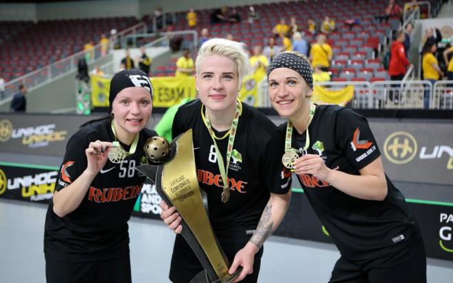 """""""Rubene"""" finālā atspēlējas un 11. reizi kļūst par Latvijas čempioni florbolā"""