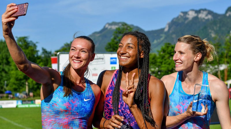 Laura Ikauniece-Admidiņa, Nafisatu Tiama un Karolīna Šefere.  Foto: imago/Nordphoto/Scanpix