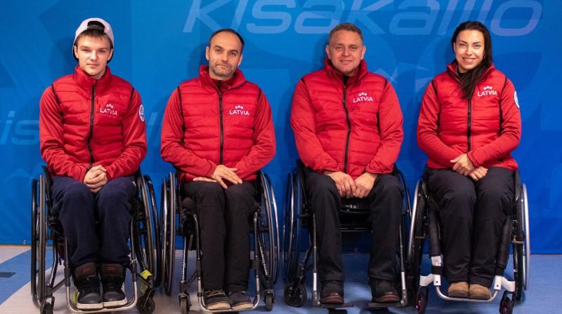 Latvijas ratiņkērlinga izlase pasaules čempionātā. Foto: Latvijas Kērlinga asociācija