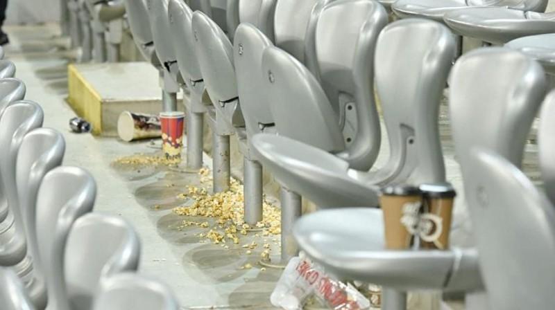 Astanas stadiona tribīnes pēc spēles ar Latviju. Foto: Sputnik