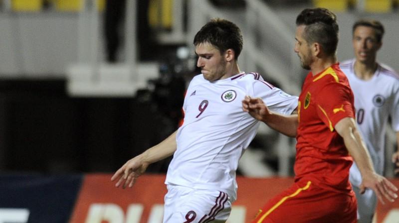 Valērijs Šabala pārbaudes spēlē Maķedonijā. Foto: AP/Scanpix