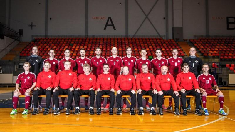 Latvijas telpu futbola izlase. Foto: LFF