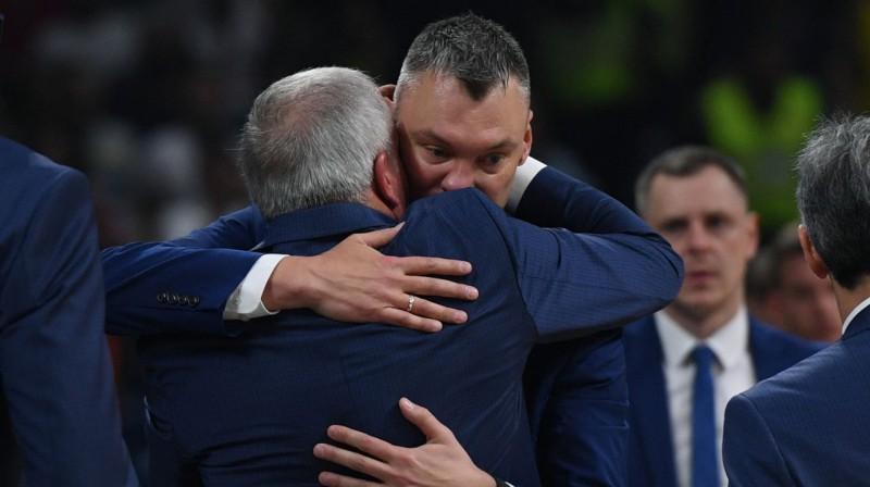 Žeļko Obradovičs un Šarūns Jasikēvičs. Foto: Sputnik / Scanpix