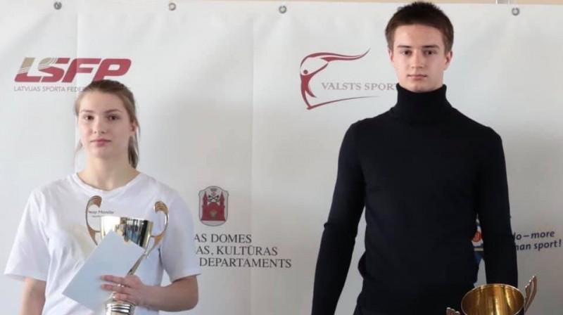 Latvijas jaunie džudisti Anastasija Sokirjanska un Andrejs Skomorohovs. Foto: Vsevoloda Zeļonija Sporta skola
