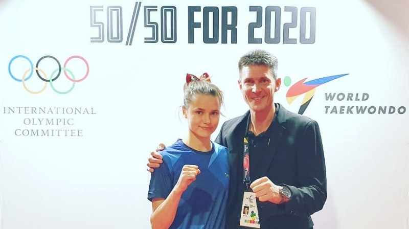 Inese Tarvida un treneris Markuss Kolefels. Foto: TCC Friedrichshafen