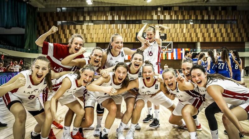 Latvijas U18 meiteņu izlase: septītā labākā Eiropas komanda 2019. gada vasarā. Foto: FIBA