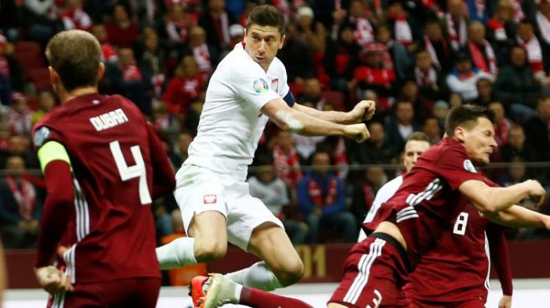 Roberts Levandovskis martā spēlē pret Latviju. Foto: Reuters/Scanpix