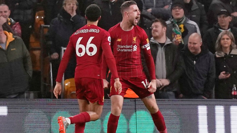 """Liverpool"" futbolisti pēc vārtu guvuma. Foto: Andrew Yates/Reuters/Scanpix"
