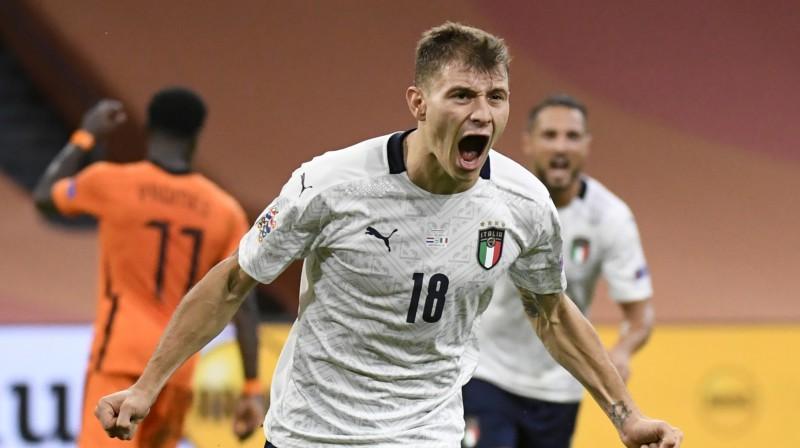 Itālijas uzvaras vārtu autors Nikolo Barella. Foto: Reuters/Scanpix