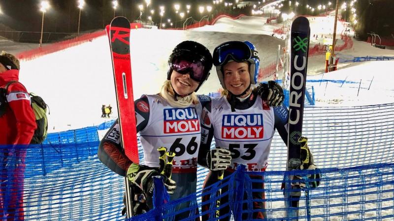 Māsas Gasūnas šķir divas simtdaļas Latvijas čempionāta milzu slalomā