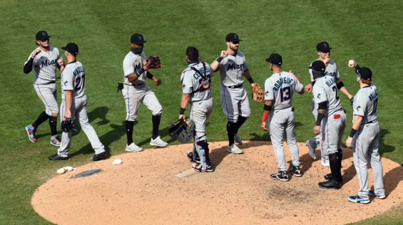 """""""Marlins"""" spēlētāji. Foto: USA TODAY Sports/Scanpix"""