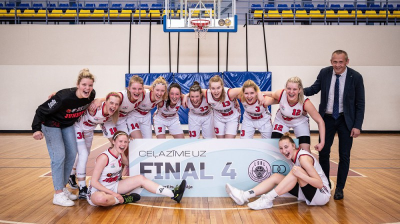 """Basketbola skolas """"Rīga"""" juniores 2021. gada 18. aprīlī. Foto: LBS"""