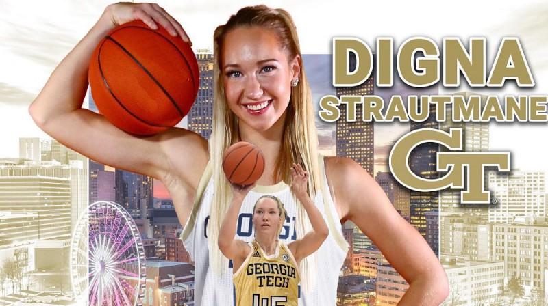 Digna Strautmane turpinās spēlēt ACC līgā. Kolāža: Georgia Tech