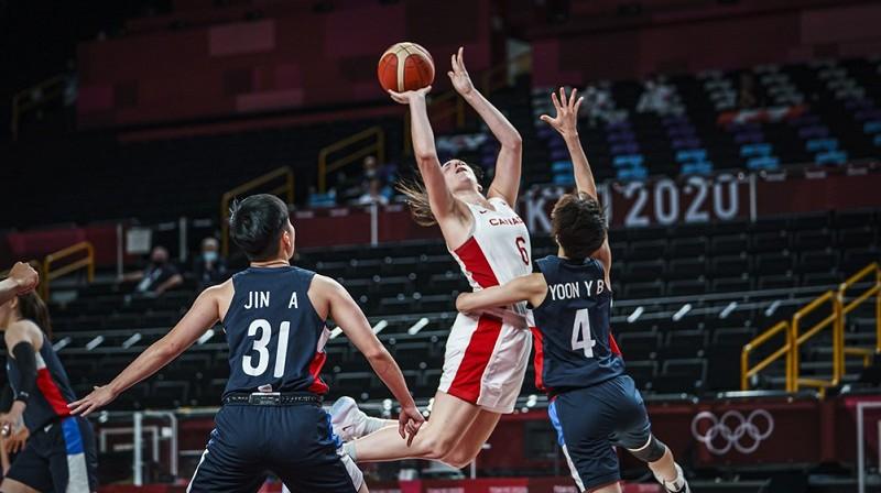 Bridžeta Karltone spēlē pret Koreju. Foto: FIBA