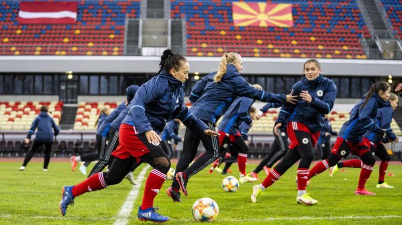 Latvijas sieviešu futbola izlases treniņš. Foto: LFF